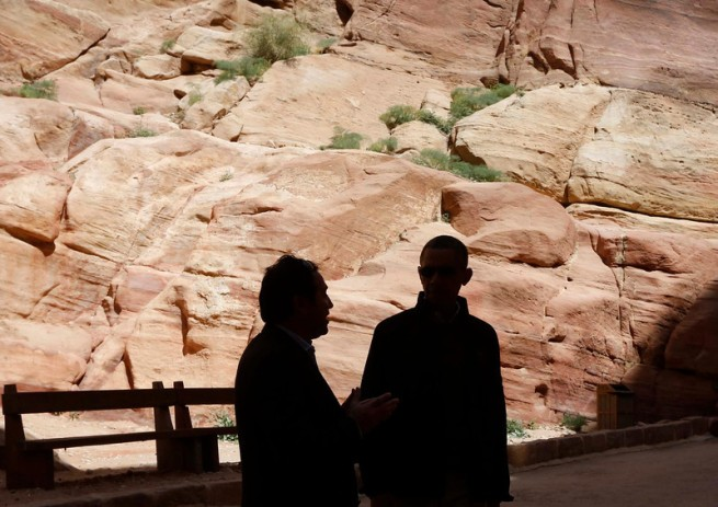 U.S. President Barack Obama participates in a walking tour of Petra, Jordan