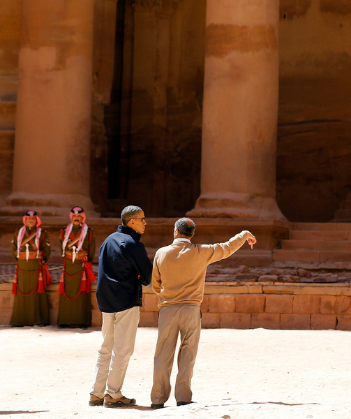 U.S. President Obama stops to look at the Treasury while he receives a tour of Petra