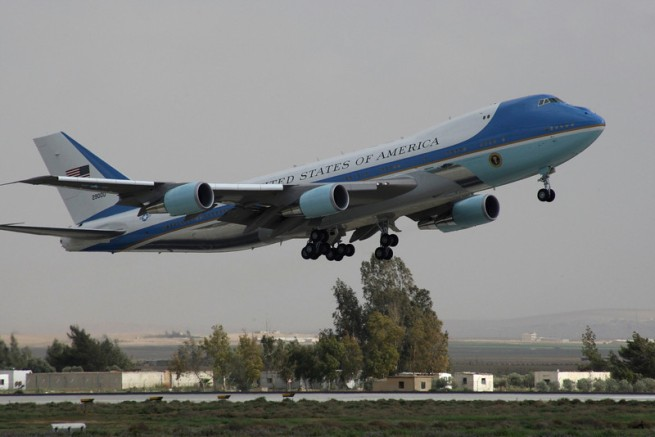 Air Force One, carrying U.S. President Barack Obama, leaves Amman airport