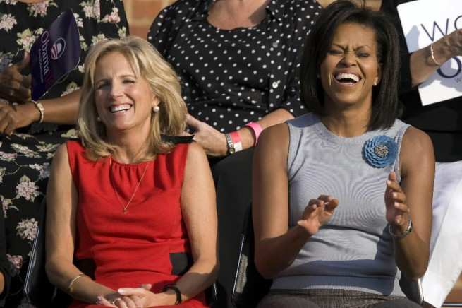Michelle Obama Jill Biden laugh-demoundgrnd