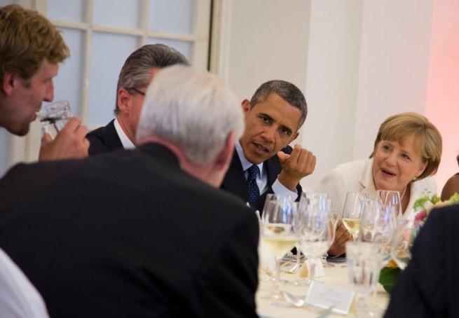 Barack Obama, Angela Merkel, Dirk Nowitzki
