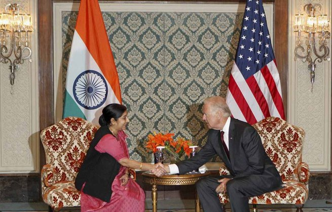 US Vice President with Sushma Swaraj