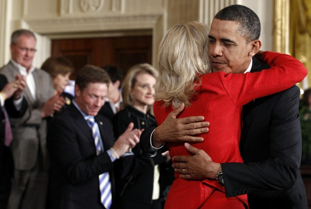 "Obama hugs Dr. Jill Biden during the launch of ""Joining Forces"" at the White House in Washington"