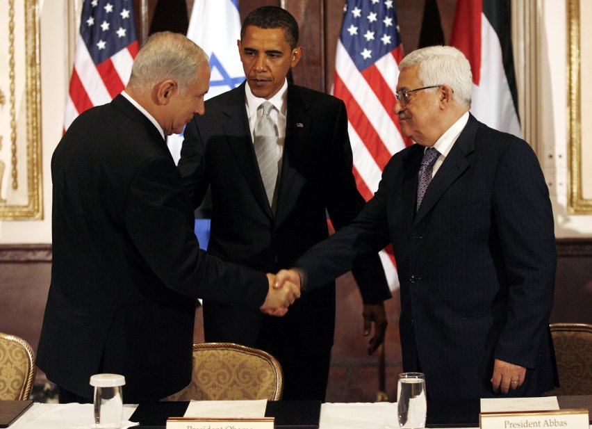 U.S. President Barack Obama with Israeli Prime Minister Benjamin Netanyahu and Palestinian President Mahmoud Abbas