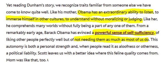Obama like Dunham