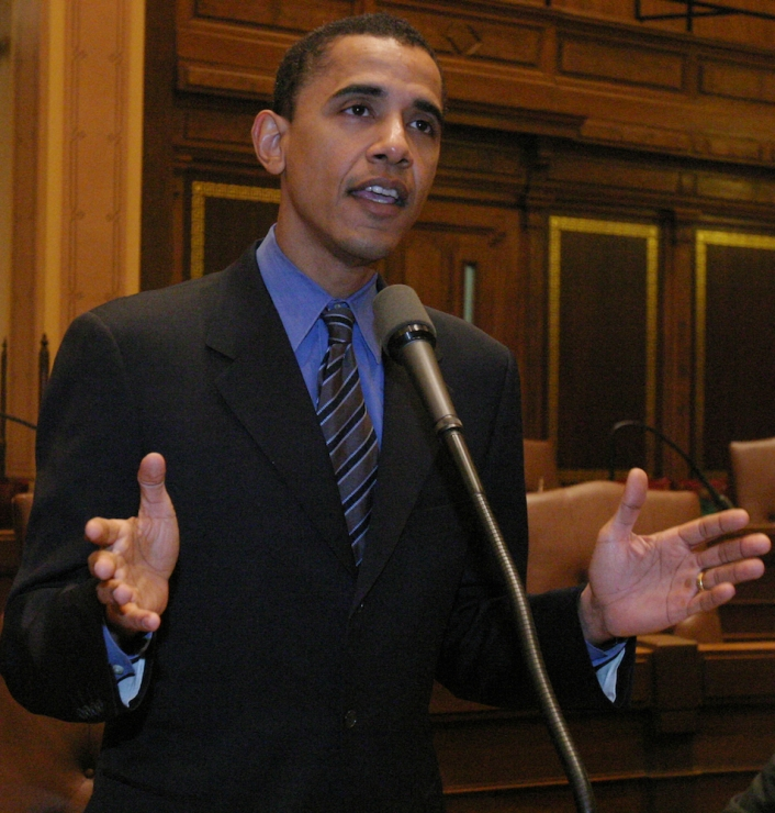 Obama speaks before the Illinois State Senate. (c. 2000)