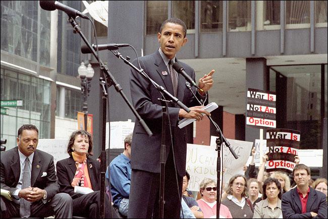 خطاب الرئيس باراك اوباما وقت عضويته في مجلس الشيوخ عن حرب العراق