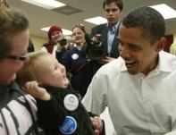 U.S. Democratic Presidential nominee Senator Obama at a campaign headquarters in Brighton