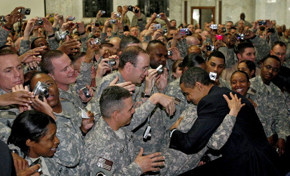 U.S. President Barack Obama greets troops at Camp Victory in Baghdad