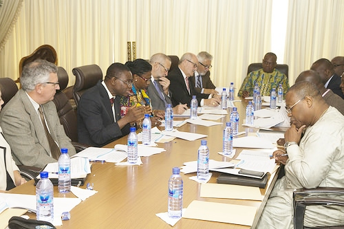 Nigerian Chief epidemiologist (2nd let) with US officials in Ghana
