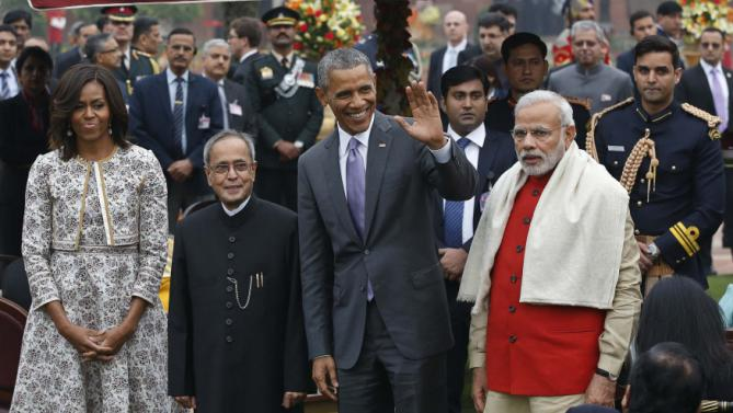 U.S. President Obama and first lady Obama pose with India's President Mukherjee and Prime Minister Modi during a home reception at Rashtrapati Bhavan presidential palace in New Delhi