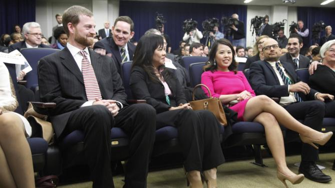 Brantly and Pham attend remarks by Obama about the progress made to date in the response to the Ebola outbreak in West Africa, from the Eisenhower Executive Office Building on the White House campus in Washington