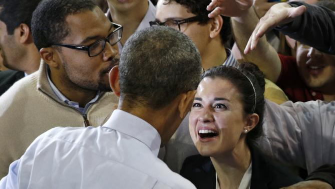 A student reacts upon meeting Obama at George Tech in Atlanta, Georgia