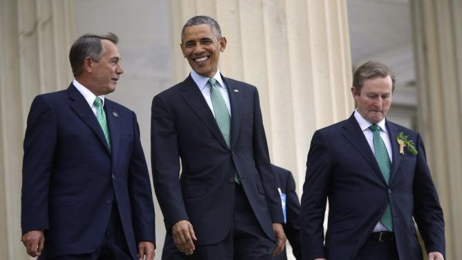 Boehner and Obama depart with Kenny after a St. Patrick's Day luncheon at the U.S. Capitol in Washington