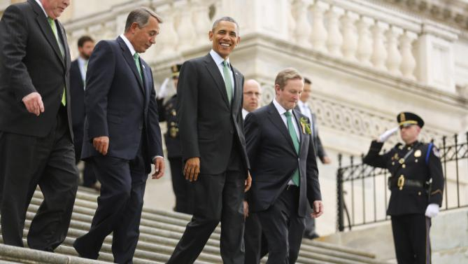 U.S. House Speaker John Boehner (R-OH) (L-R), President Barack Obama and Ireland's Prime Minister Enda Kenny leave after a St. Patrick's Day luncheon at the U.S. Capitol in Washington