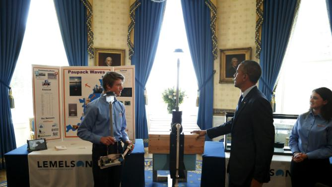 Obama speaks with Sonsteby and Peifer about their invention, as he plays host to the 2015 White House Science Fair at the White House in Washington