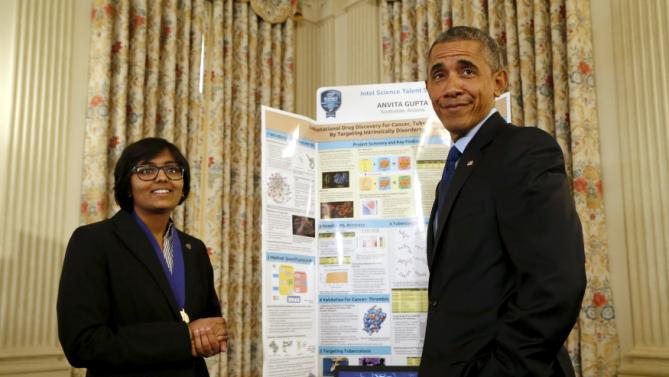 Obama deadpans a remark to reporters about how impressed he is by the work of Gupta as Obama plays host to the 2015 White House Science Fair at the White House in Washington