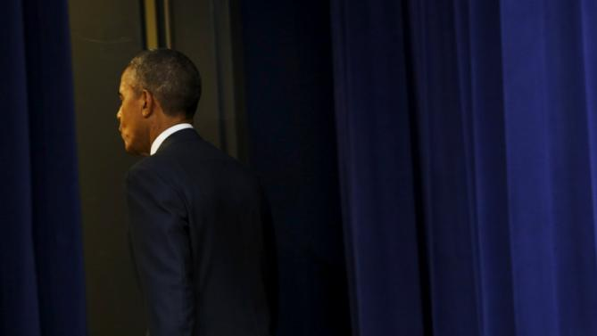 Obama departs after remarks on the fifth anniversary of the Affordable Care Act on the White House campus in Washington
