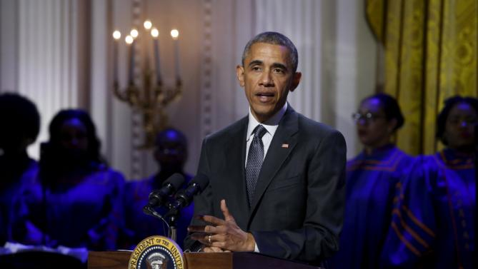 "U.S. President Barack Obama delivers remarks as he plays host to a tribute to gospel music for an ""In Performance at the White House"" television event at the White House in Washington"