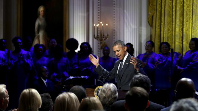 Obama delivers remarks as he plays host to a tribute to gospel music for an 'In Performance at the White House' television event at the White House in Washington