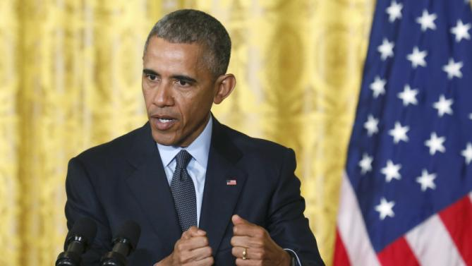 U.S. President Obama addresses joint news conference at the White House in Washington