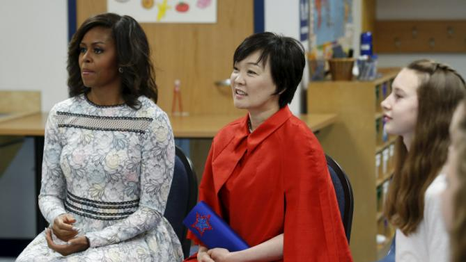 U.S. First Lady Michelle Obama and and Mrs. Akie Abe, wife of Japanese Prime Minister Shinzo Abe, visit Great Falls Elementary School in Great Falls