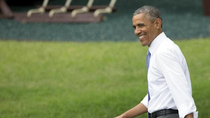 President Barack Obama arrives to speak at a picnic for members of Congress on the South Lawn of the White House in Washington, Wednesday, June 17, 2015. (AP Photo/Andrew Harnik)