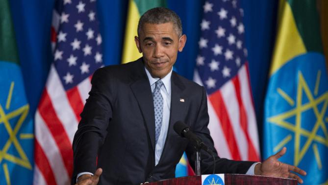 President Barack Obama gestures during a joint news conference with Ethiopian Prime Minister Hailemariam Desalegn, Monday, July 27, 2015, at the National Palace in Addis Ababa. Obama is the first sitting U.S. president to visit Ethiopia. (AP Photo/Evan Vucci)