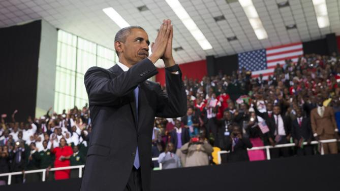 President Barack Obama thanks the crowd after delivering a speech at Safaricom Indoor Arena, Sunday, July 26, 2015, in Nairobi. On the final day of his visit in Kenya, Obama laid out his vision for Kenya's future, and broad themes of U.S.-Kenya relations. (AP Photo/Evan Vucci)