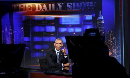 U.S. President Barack Obama makes an appearance on The Daily Show with Jon Stewart in New York July 21, 2015.  REUTERS/Kevin Lamarque