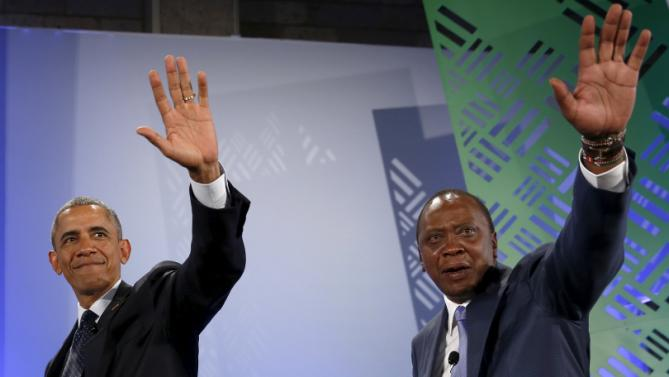 U.S. President Barack Obama (L) and Kenya's President Uhuru Kenyatta (R) depart the stage after speaking at the Global Entrepreneurship Summit at the United Nations compound in Nairobi July 25, 2015. Obama told African entrepreneurs in Kenya on Saturday they could help counter violent ideologies and drive growth in Africa, and said governments had to help by ensuring the rule of law was upheld and by tackling corruption. REUTERS/Jonathan Ernst