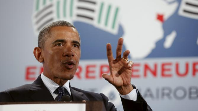 U.S. President Barack Obama delivers remarks at the Global Entrepreneurship Summit at the United Nations compound in Nairobi, Kenya July 25, 2015. Obama told African entrepreneurs in Kenya on Saturday they could help counter violent ideologies and drive growth in Africa, and said governments had to help by ensuring the rule of law was upheld and by tackling corruption. REUTERS/Jonathan Ernst