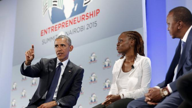 U.S. President Barack Obama (L) and Kenya's President Uhuru Kenyatta (R) take part in a roundtable with young businesspeople at the Global Entrepreneurship Summit at the United Nations compound in Nairobi, Kenya July 25, 2015. Obama told African entrepreneurs in Kenya on Saturday they could help counter violent ideologies and drive growth in Africa, and said governments had to help by ensuring the rule of law was upheld and by tackling corruption. REUTERS/Jonathan Ernst