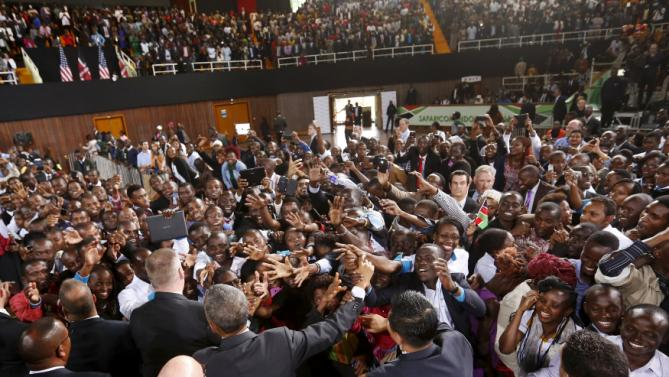 U.S. President Barack Obama delivers remarks at an indoor stadium in Nairobi July 26, 2015. Obama told Kenya on Saturday the United States was ready to work more closely in the battle against Somalia's Islamist group al Shabaab, but chided his host on gay rights and said no African state should discriminate over sexuality. REUTERS/Jonathan Ernst