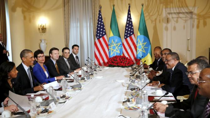 REFILE - UPDATING SLUG U.S. President Barack Obama (2nd L) and his delegation, including National Security Advisor Susan Rice (L), sit down to a bilateral meeting with Ethiopia's Prime Minister Hailemariam Desalegn (3rd R) at the National Palace in Addis Ababa, Ethiopia July 27, 2015. The economy of Ethiopia is forecast to expand by more than 10 percent, although rights groups say Addis Ababa's achievements are at the expense of political freedom. REUTERS/Jonathan Ernst