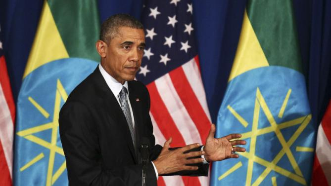 U.S. President Barack Obama speaks as he and Ethiopia's Prime Minister Hailemariam Desalegn hold a news conference after their meeting at the National Palace in Addis Ababa, Ethiopia July 27, 2015. Obama told Ethiopia's leaders on Monday that allowing more freedoms would strengthen the African nation, which had already lifted millions in the once famine-stricken country out of poverty. REUTERS/Tiksa Negeri