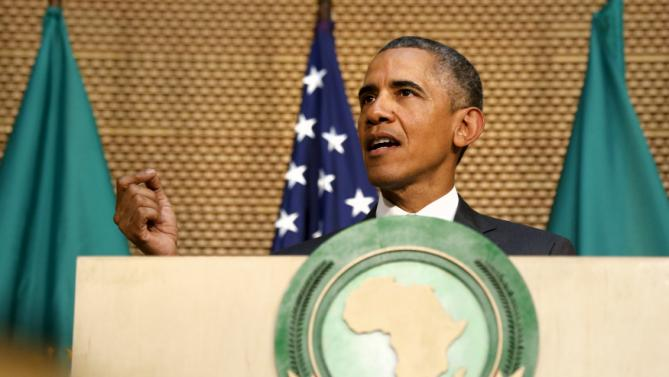 U.S. President Barack Obama delivers remarks at the African Union in Addis Ababa, Ethiopia July 28, 2015. Obama toured a U.S.-supported food factory in Ethiopia on Tuesday on the last leg of an Africa trip, before winding up his visit at the African Union where he will become the first U.S. president to address the 54-nation body.  REUTERS/Jonathan Ernst