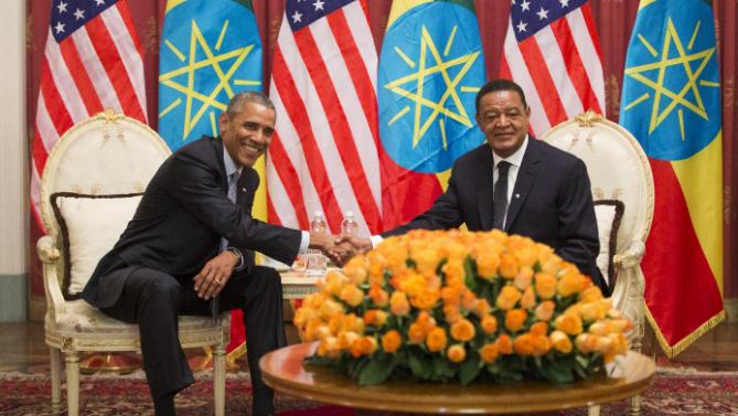 U.S. President Barack Obama, left, and Ethiopian President Mulatu Teshome shake hands during a meeting at the National Palace, on Monday, July 27, 2015, in Addis Ababa, Ethiopia. Obama is the first sitting U.S. president to visit Ethiopia. (AP Photo/Evan Vucci)