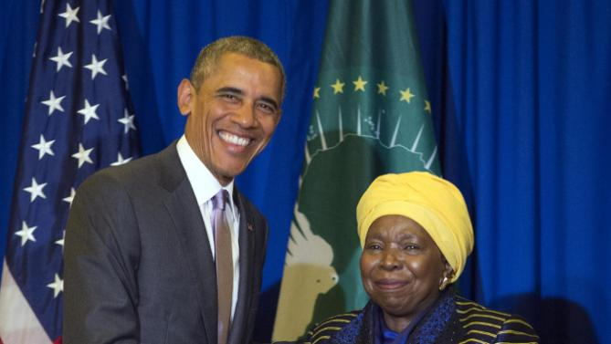 U.S. President Barack Obama, left, shakes hands during a bilateral meeting with African Union Commission chairperson, Dr. Nkosazana Dlamini Zuma, at the African Union, Tuesday, July 28, 2015, in Addis Ababa, Ethiopia. On the final day of his African trip, Obama is focusing on economic opportunities and African security. (AP Photo/Evan Vucci)