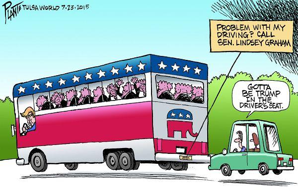 Bruce Plante Cartoon: Trump's driving, Donald Trump, Sen. Lindsey Graham. GOP, Republican Party, RNC, Presidential Camapign 2016, Linsey Graham's phone number, Plante 20150724