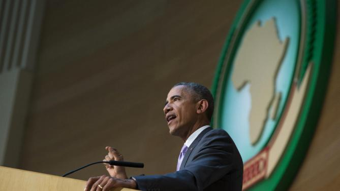 U.S. President Barack Obama delivers a speech to the African Union, Tuesday, July 28, 2015, in Addis Ababa, Ethiopia. On the final day of his African trip, Obama is focusing on economic opportunities and African security. (AP Photo/Evan Vucci)