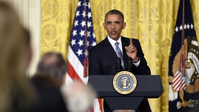 President Barack Obama speaks at the 2015 White House Conference on Aging, Monday, July 13, 2015, in the East Room of the White House in Washington. The president said a secure retirement is a critical component of what it means to be middle class in America. (AP Photo/Susan Walsh)