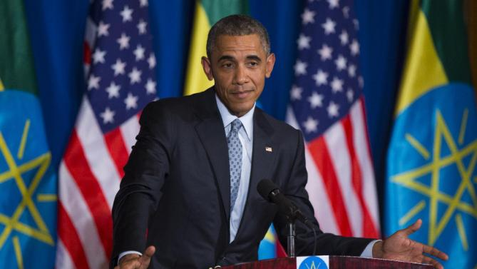 President Barack Obama listens during a joint news conference with Ethiopian Prime Minister Hailemariam Desalegn, Monday, July 27, 2015, at the National Palace in Addis Ababa. Obama is the first sitting U.S. president to visit Ethiopia. (AP Photo/Evan Vucci)