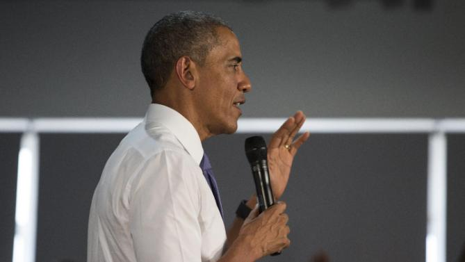 President Barack Obama speaks during a meeting with civil society leaders at the YALI Regional Leadership Center, on Sunday, July 26, 2015, in Nairobi. On the final day of his visit in Kenya, Obama laid out his vision for Kenya's future and broad themes of U.S.-Kenya relations. (AP Photo/Evan Vucci)