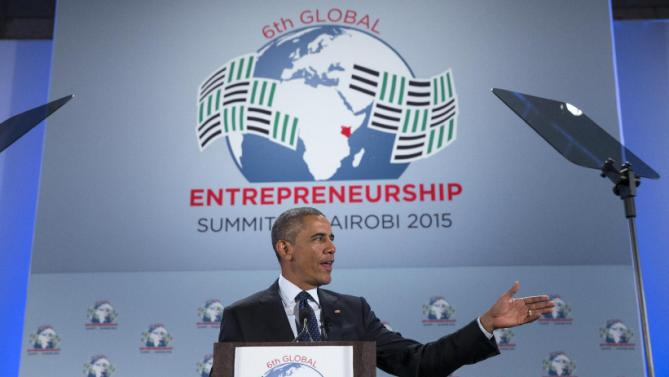 President Barack Obama delivers a speech at the Global Entrepreneurship Summit at the United Nations Compound, Saturday, July 25, 2015, in Nairobi. Obama's visit to Kenya is focused on trade and economic issues, as well as security and counterterrorism cooperation.  (AP Photo/Evan Vucci)