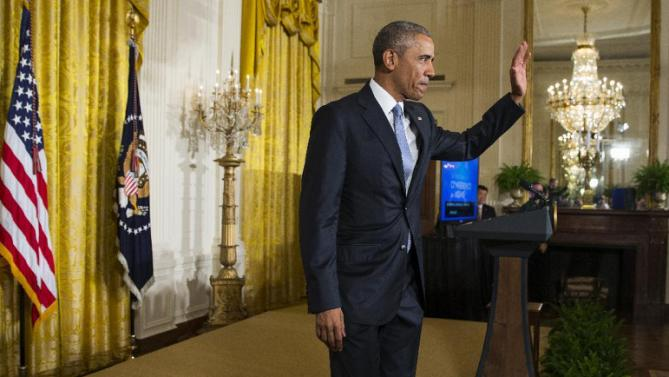 President Barack Obama waves after speaking during the 2015 White House Conference on Aging, Monday, July 13, 2015, in the East Room of the White House in Washington. The president said a secure retirement is a critical component of what it means to be middle class in America. (AP Photo/Evan Vucci)