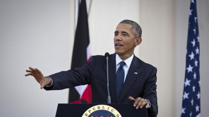 "U.S. President Barack Obama answers questions from the media, after meeting with Kenya's President Uhuru Kenyatta, at State House in Nairobi, Kenya Saturday, July 25, 2015.  Obama heralded Africa as a continent ""on the move"", as he visits Kenya  Saturday, the East African nation where he has deep family ties. (AP Photo/Ben Curtis)"