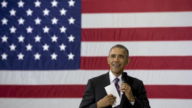 President Barack Obama speaks at Taylor Stratton Elementary School in Nashville, Tenn., Wednesday, July 1, 2015,  about the Affordable Care Act.  The president said he wants to refocus on improving health care quality, expanding access and rooting out waste now that the Supreme Court has upheld a key element of his health care law. (AP Photo/Carolyn Kaster)