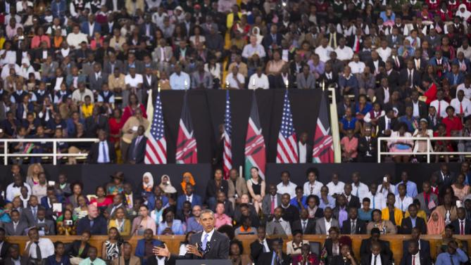 President Barack Obama delivers a speech at the Safaricom Indoor Arena in the Kasarani area of Nairobi, Kenya Sunday, July 26, 2015. Obama is traveling on a two-nation African tour where he will become the first sitting U.S. president to visit Kenya and Ethiopia. (AP Photo/Ben Curtis)