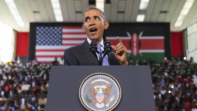 President Barack Obama delivers a speech at Safaricom Indoor Arena, Sunday, July 26, 2015, in Nairobi. On the final day of his visit in Kenya, Obama laid out his vision for Kenya's future, and broad themes of U.S.-Kenya relations. (AP Photo/Evan Vucci)